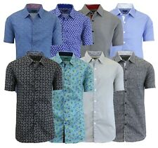Mens Short Sleeve Slim-Fit Button-Down Casual Summer Shirt Size S M L XL XXL NWT