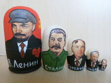 WOOD MATRYOSHKA RUSSIAN DOLL OF 5 POLITICAL LEADERS LENIN STALIN PUTIN GORBACHOV