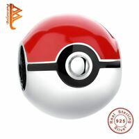 BELAWANG 925 Sterling Silver Pokeball Pokemon Red Enamel Bead Charm Fit Origi…