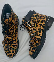 Topshop 42 9 Leopard Animal Print Fur Leather Lace Ankle Biker Boot Zip Bnwob