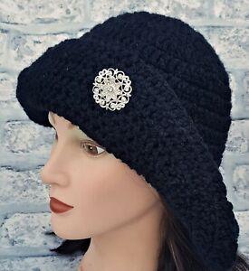 LADIES WINTER CHUNKY BLACK HAT floppy brimmed gothic birthday gift for her uk