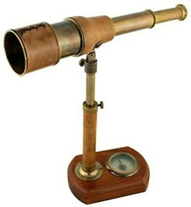 Telescope Brass With Leather On Stand + Kompass- Antique Design