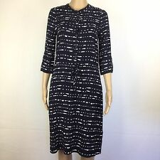 Jacqui E Blue White Button Down Shift Viscose Dress Size 6 NWT RRP $129 (AT12)