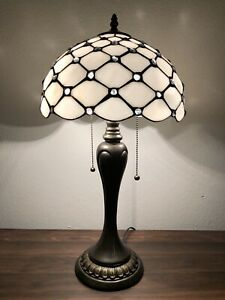 """Enjoy Tiffany Style Table Lamp Crystal Bean White Stained Glass Vintage 22""""H12""""W"""