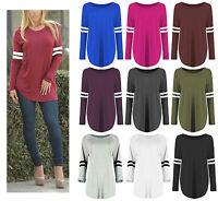 Womens Oversized Baseball Stripe Curved Hem Dress Long Sleeve Sporty T Shirt Top