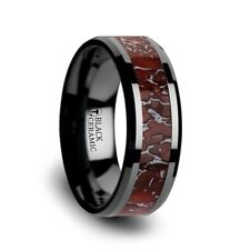 BRAND NEW Red Dinosaur Bone Inlay Black Ceramic Beveled Edged Ring - 8mm