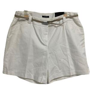 Rafaella Women's Curvy Fit White Belted Bermuda Shorts Size 14