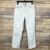 Lands End Womens 4P High Rise Straight Leg Jeans Cotton Stretch Denim Ivory