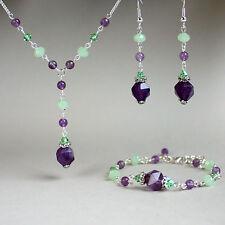 Purple green amethyst crystal necklace bracelet earrings silver wedding gift set