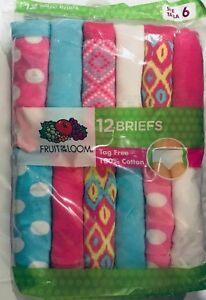Fruit Of The Loom Girls 12 Pack Hot Pink/Blue Assorted Briefs Size 6, 8