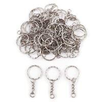 50x Anneau 25mm pour porte-cles porte clefs chaine 30mm metal argente bijoux ey