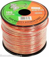 100' ft Roll 18Ga Clear Car & Home Audio Stereo Speaker Wire Cable 18 Gauge AWG