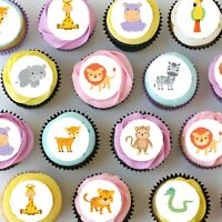 Jungle Animals Mini Edible Icing Cupcake Toppers - PRE-CUT Sheet of 30