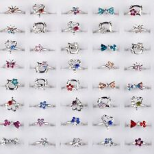 20pcs Adjustable Wholesale Mix Crystal Children Kids Silver Rings Tail Ring