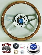 """1969-1994 Camaro steering wheel BLUE BOWTIE Grant 13 1/2"""" WALNUT 4 SPOKE wheel"""