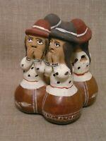 Vintage Peru Allpa Quinua Handmade Folk Art Pottery Figural Music Whistle Flute