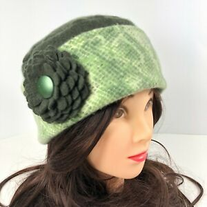 Women's Cashmere Sweater Hat Hand Made Green Snake Print w/ Flower Brooch Pin OS