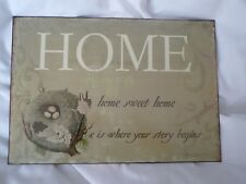 HOME SWEET HOME.......  METAL WALL PLAQUE.  NEW. 19cm x 27cm