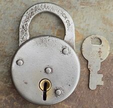 Antique Pressed Steel Corbin  Padlock & Key