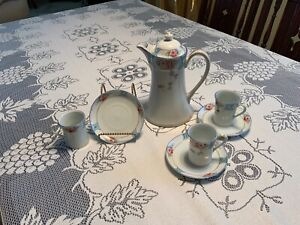 Antique Nippon Hot Chocolate Pot w (3) matching cups & saucers pink & red roses