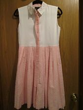 Oscar de la Renta White Pink Seersucker Sleeveless Cotton Dress Size 14Y