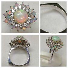 opalring 750er Oro oro bianco con brillanti e Opal 0,84 ct anello oro anello