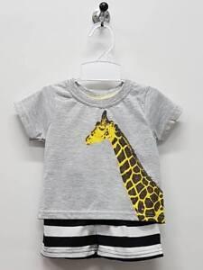 Boy PJ Animal Giraffe 2pcs Set Size 2 Kids Summer T-Shirt Short Comfy TV161 Grey