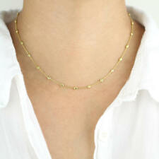 14K Solid Gold Beaded Chain Necklace | Beads by Yard | Minimalist Jewelry