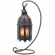 Multi-Colored Candle Lantern with Stand