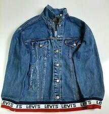 NWT Levi's Baggy Sport Tape Over sized Blue Denim Trucker Jacket Women's MED