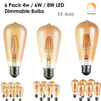 6 Pack Vintage Filament LED Edison Bulb Dimmable E27 Decorative Industrial Light