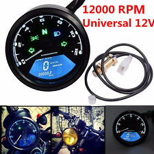 LCD Digital Odometer 12000RPM Speedometer Tachometer For Motorcycle Scooter 12V!
