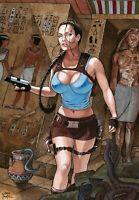 Lara Croft Tomb Raider Angelina Jolie Original Comic Art Drawing By Joe Pimentel