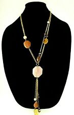 Chicos Womens  Gold Tone Multi-Chain Necklace with Pendant Stone Warm Colors