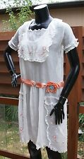amazing antique semi sheer embroidered cotton tea DRESS Edwardian early 1900s