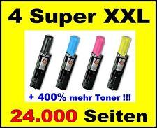 4 X TONER PER EPSON ACULASER cx11n cx11nf cx21nf cx21nfc-SUPER XXL cartridge