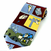Nativity Scenes Men's Necktie Christian Jesus Religious Christmas Red Neck Tie