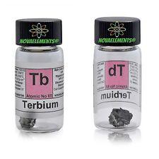 Terbium metal element 65 Tb sample 1 gram piece 99,9% inside labeled glass vial