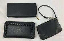 Women's Zipper Wallet / Skinny Wristlet Lot Of 3 Black Studded