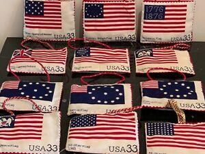 Rare Set of 47 Historical American Flag USA 33¢ Stamps Christmas Tree Ornaments