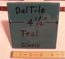 "6 pcs. *Glossy Teal*  New Ceramic Tiles  by Daltile...4-1/4""  Mint  Made in USA"