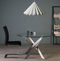 Design Esstisch 120cm mit Klarglas Tischplatte + Stahl Füße Edelstahl Rund Tisch