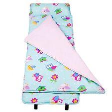 Girls Owl Nap Mat Kids Blanket Pillow Case Travel Sleeping Bag Carry Strap Birds