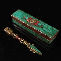 Tibet Buddhist Bronze Vajra Hayagriva Phurba Dagger Inlay Turquoise Statue Box