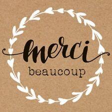 """stickers  """"Merci beaucoup"""" (par 50) carrés 3,5x3,5cm  , aspect papier kraft"""