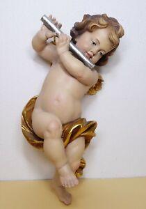 Putte Engel mit Querflöte 38 cm - Holzschnitzarbeit von Josef Albl Oberammergau