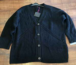 """V BY VERY SIZE XL LADIES BLACK CARDIGAN PLUS SIZE WOOL/ACRYLIC 56"""" CHEST"""