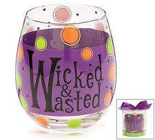 2 New Wicked Wasted Stemless Wine Glasses 16 Oz  burton+ BURTON Halloween Party