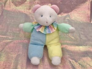Vintage Pastel Eden Teddy Bear Plush terry cloth clown babys first bear 90s