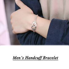Men's Cool Elastic Copper Beaded Bracelet Charm Silver Handcuff Bracelet Bangle